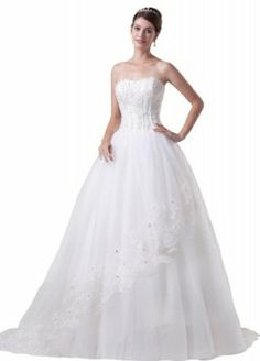 GEORGE BRIDE Tulle Over Satin With Beaded Waist Chapel Train Wedding Dress - $189.00 (Also available in plus sizes)