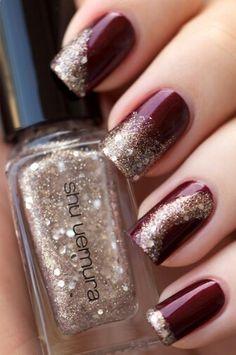 Golden glitter skittles over burgundy!