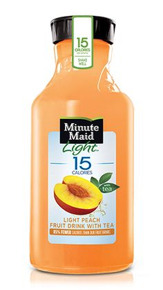 Light Peach with Tea   A combination of the goodness of Minute Maid, a subtle splash of tea, and the sweet taste of peaches, all in one! Now that's a light and juicy combination. Plus, it has 15 calories per 8 fl oz serving. Yum.
