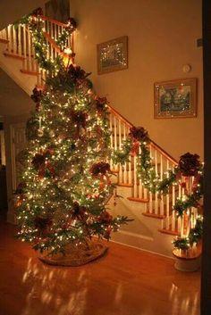 Christmas tree and banner.