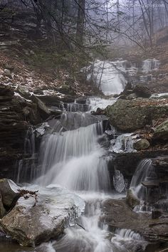 Waterfalls along Pigeon Run, Sullivan County, PA.