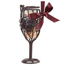 Wine Glass Cork Cage® Bottle Ornament Cherish a special moment by storing a memorable wine cork in our new Cork Cage® Ornaments! Dog Ornaments, Glass Ornaments, Holiday Ornaments, Christmas Decorations, Cork Holder, Purple Ribbon, Christmas Wine, Wine Making, Easy Gifts