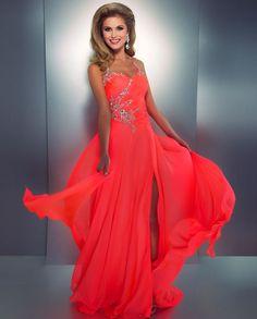 Neon orange stunning prom dress beautiful.