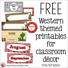 free western themed classroom decor printables Classroom Jobs, Classroom Decor, Free Teaching Resources, Teaching Ideas, Fourth Grade, Second Grade, School Forms, Cvce Words, Christmas Jokes