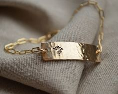 Thought Blossoms - Gold Two Sided Medical Alert Bracelet