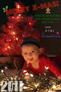 Christmas Card - Baby photo - DIY  Take cute pictures, edit them on picnik.com, and order them with free photo promos! They can be completely free xmas cards!