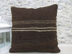 natural brown color wool pillow cover 20 x 20 handmade decorative kilim pillow bohemian couch pillow armchair pillow throw pillow floor rug