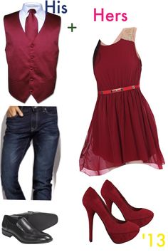 Formal outfits for couples! Valentines day? Maybe just a red tie & black dress shirt for him.