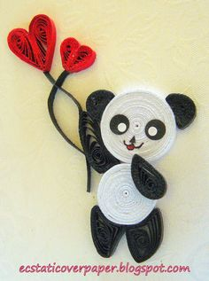 panda bear with hearts - Quilling Ideas 3d Quilling, Paper Quilling Cards, Quilling Letters, Paper Quilling Tutorial, Paper Quilling Flowers, Paper Quilling Patterns, Paper Quilling Jewelry, Origami And Quilling, Quilled Paper Art