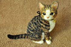 Needle felted tabby cat.
