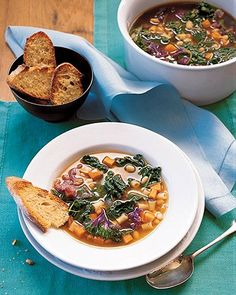 Kale, White Bean, and Sweet Potato Soup, sub vegetable broth for chicken