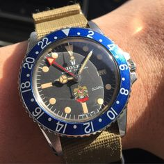 """Rolex GMT 1675 UAE eagle with blueberry insert specially made for UAE military…"