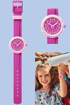 PINK MY MIND (ZFCSP098) is a Swiss-made plastic analogue watch for kids who love to stand out, and a gift that will make a strong and lasting impression. Its neon pink colour covers the strap as well as the dial, which is encrusted with glittering crystals from Swarovski®, and the pale pink of the rotating bezel creates a bold contrast. Combining innovative design and dynamic colours, PINK MY MIND is a jewel in the Swatch crown. Pale Pink, Pink Color, My Mind, Innovation Design, Swatch, Jewel, Contrast, Swarovski, Mindfulness
