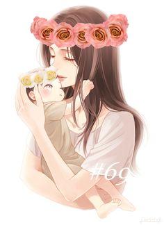 mom anime and baby anime (notitle) Mother Daughter Art, Mother Art, Mother And Child, Anime Child, Anime Art Girl, Family Illustration, Cute Illustration, Bebe Anime, Anime Pregnant