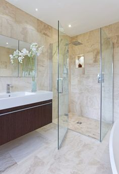 Browse images of beige modern Bathroom designs: Light Airy Shower Room. Find the best photos for ideas & inspiration to create your perfect home.
