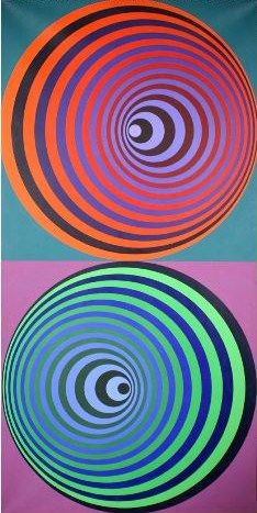 Victor Vasarely was a Hungarian-born artist and preeminent painter of complex geometric patterns. He is best known as a founder of Op Art movement. Victor Vasarely, Op Art, Illusion Kunst, Illusion Art, Grafik Art, Kinetic Art, Art Plastique, Geometric Art, Fractal Art