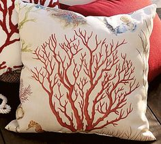 Atlantic Coral Outdoor Pillow #potterybarn
