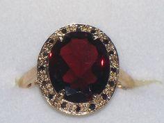 Persian Garnet &  Black Diamond Ring
