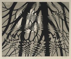 M. C. Escher linocut 'Rippled surface' 1950  This would make a stunning textile…