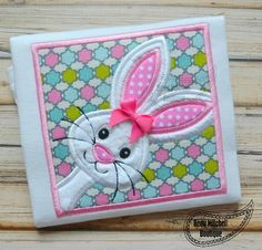 Bunny applique Bunny applique embroidery bunny in a box applique easter bunny in a box applique embroidery design Easter bunny Easter bunny embroidery Fabric Toys, Applique Embroidery Designs, Craft Show Ideas, Birthday Board, Mug Rugs, Painted Rocks, Projects To Try, Bunny, Easter