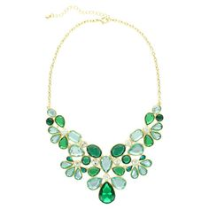 Add a pop of style to evening ensembles and work outfits alike with this striking gold-plated necklace, showcasing an array of faceted stones in shades of gr...