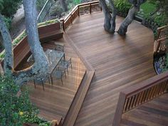 Beautiful multi-level redwood deck from Armstrong-Clark Wood Stains