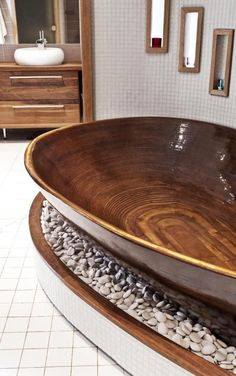 Relaxing and Chill Wooden Bathtub, Architecture, Art and Design Dream Bathrooms, Beautiful Bathrooms, Luxury Bathrooms, Contemporary Bathrooms, Modern Contemporary, Wooden Bathtub, Wood Tub, Stone Bathtub, Home Improvement