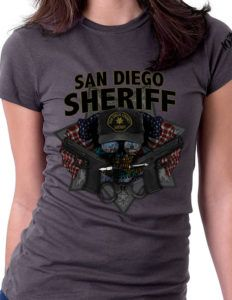 San Diego Sheriff  Women's Shirt was designed specifically for those that fight and run towards chaos in San Diego: The Thin Blue Line. A San Diego Sheriff Shirt for the law enforcement officers of this great state.