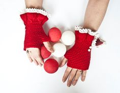red and white fingerless gloves arm warmers by fatoss on Etsy, $30.00