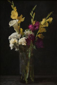 Carnations and liliums, oil by Michael Klein
