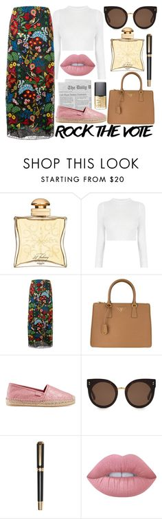 """""""Untitled #458"""" by arianasinger ❤ liked on Polyvore featuring Hermès, Valentino, Prada, Gucci, STELLA McCARTNEY, Olympia, Lime Crime and NARS Cosmetics"""