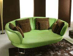 really deep reclining sofa in green