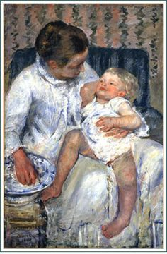 "Mary Cassatt's ""Mother About to Wash Her Sleepy Child."" Did you know Cassatt was the only American in the French Impressionist artist circle?"