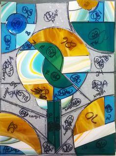 Jennifer's latest piece in progress. #stainedglass #wip #abstract