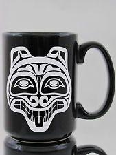 Haida wolf 05 - Tall - Sandblasted Engraved Etched 15 oz Coffee Mug