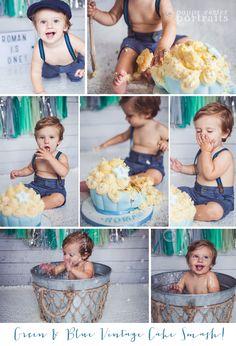Green, Blue & Silver Vintage Cake Smash! Boy Cake Smash. Vintage Cake Smash. Cute. Baby Boy. First Birthday Ideas. Poppy Carter Portraits. Aylesbury Cake Smash Photography