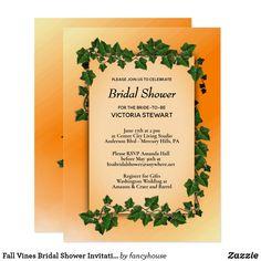 Fall Vines Bridal Shower Invitation Gift Register 50% off