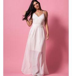 Ρομαντικό Μάξι Φόρεμα από Δαντέλα και Ζορζέτα - Λευκό