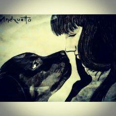 Con cariño y cuidado, no existirá amor mas grande que el de un perro a su dueño - Lapiz sobre papel