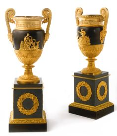 A pair of Restauration ormolu and patinated bronze vases circa 1820 - Sothebys