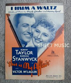 Sheet Music I Hum a Waltz 1937 Movie with Robert Taylor