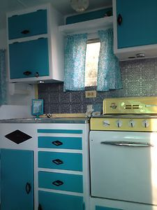 """1958 Vintage Travel Trailer Restored Turquoise & White Beauty """"Cool Breeze"""" CA in RVs & Campers 