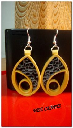 Quilled  eye shape earrings -Jewellery-EEE Crafts Lseries