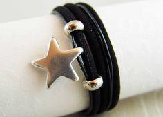 Wickelarmband Schwarz Silber-Stern - ein Designerstück von elfenstuebchen bei DaWanda