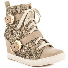 What do you think of these gold sparkly wedge sneakers?  Gotta have it or make it stop?