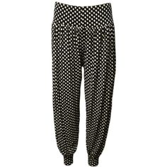 WearAll Plus Size Polka Dot Print Harem Trousers ($22) ❤ liked on Polyvore featuring pants, black, cuffed pants, harem pants, harem trousers, loose fit pants and plus size pants