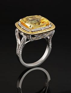 Diamond Cocktail Rings | Yellow Sapphire & Diamond Filigree Cocktail Ring