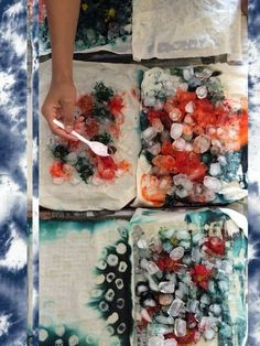 Textile Dying Ideas Ice + dye, Also salt + dye, rust, object-resist. Fabric Dyeing Techniques, Tie Dye Techniques, Textiles Techniques, Fabric Painting, Fabric Art, Fabric Crafts, Textile Dyeing, Textile Art, Dyeing Fabric