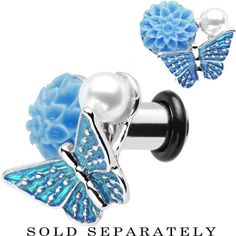 2 Gauge Blue Acrylic Flower Aqua Butterfly Single Flare Steel Plug | Body Candy Body Jewelry