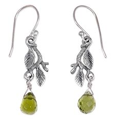 NOVICA 925 Sterling Silver Dangle Earrings with Green Crystal Glass Accents Rainforest -- Want to know more, click on the image.